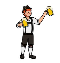 bavarian man holding two beer glasses vector image