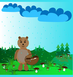 bear and mushroom rain vector image
