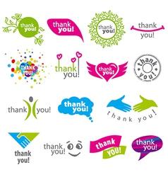 big set of logos thank you vector image