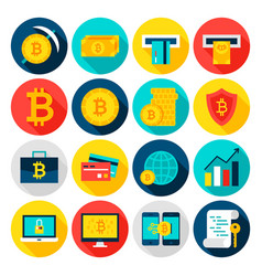 Bitcoin currency flat icons vector