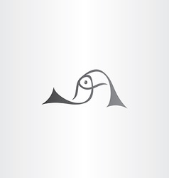 black fish logo sign element vector image