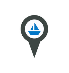 boat cargo location marker pin pointer ship icon vector image