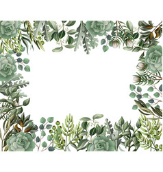 Border and frame with leaves and succulent vector