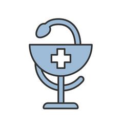 bowl hygeia color icon vector image