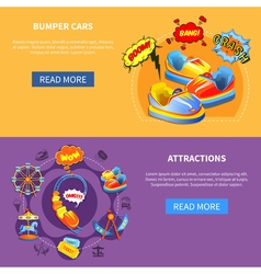 Bumper cars and attractions flat banners vector image