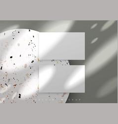 Business card mockup sunrays marble podium vector