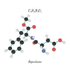 C14H18N2O5 aspartame molecule vector image