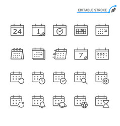 calendar line icons vector image