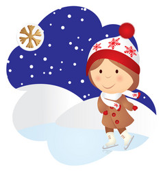 cartoon child skating in winter evening vector image