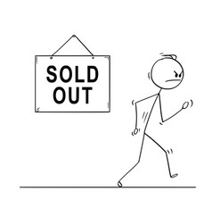 Cartoon of angry man walking from sold out shop vector