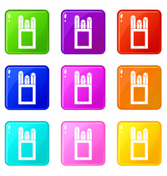 chalks in carton box icons 9 set vector image