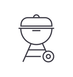 charcoal grill line icon sig vector image