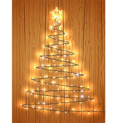 Christmas tree with light on wooden background vector