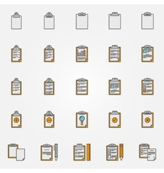 Clipboard colorful icons vector image