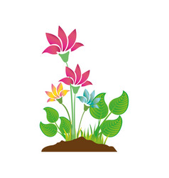 Colorful silhouette with plant with flowers vector