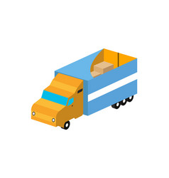 commercial freight truck isometric isolated icon vector image