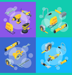 construction tools isometric icons concept vector image