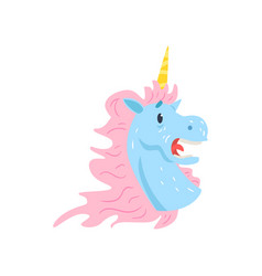 cute frightened unicorn character cartoon vector image