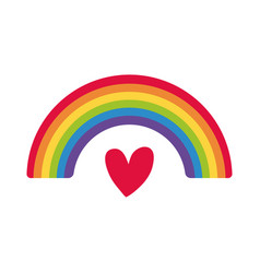 Cute rainbow weather with heart flat style icon vector