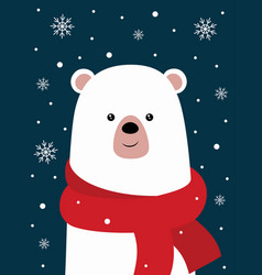 cute winter card with bear vector image
