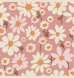 Daisy allover dusty pink repeat pattern vector