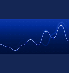 data analysis graph light chart line on blue vector image