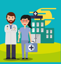 doctor and nurse suitcase staff medical team vector image