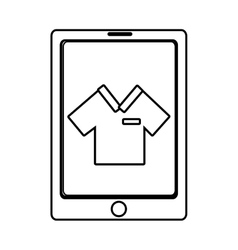 Electronic device with shirt on the screen vector