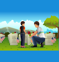 Father son visiting cemetery on memorial day vector