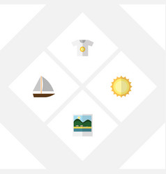 Flat season set of clothes sunshine yacht and vector