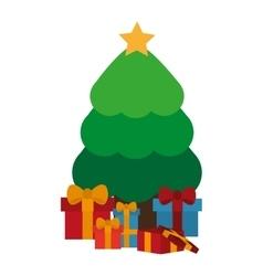 Gift and pine tree of Christmas season design vector