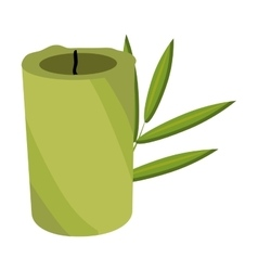green candle and tree leaves graphic vector image