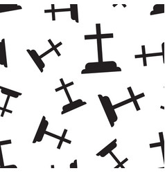 halloween grave seamless pattern background vector image