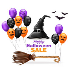 Happy halloween sale with witch hat and colorful vector