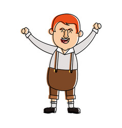 happy man in folk german costume raising arms icon vector image