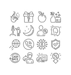 Head launch project and cleanser spray icons vector