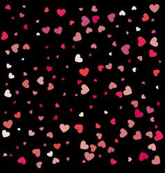Heart confetti of valentines petals falling on vector