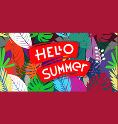 hello summer banner with color leaves card vector image