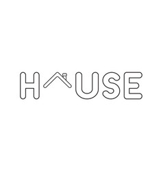 Icon concept house word with house roblack vector