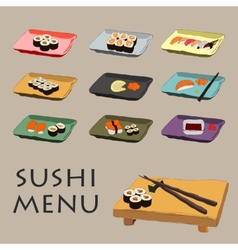 icons various pieces of Sushi vector image