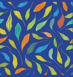 Individually hand drawn leaves in multicolor vector