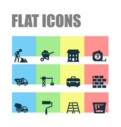 Industry icons set collection of stair lifting vector