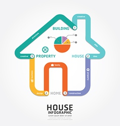 infographics building house design diagram line vector image