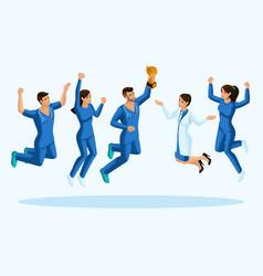 isometrics doctors jump happiness vector image
