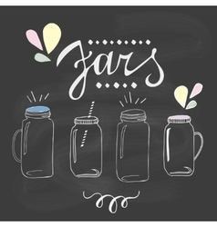 Jars set Hand drawn sketch vector image