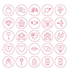 Line circle valentine day icons set vector