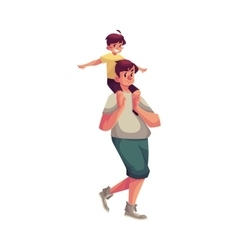 Little boy sitting on father shoulders and vector image