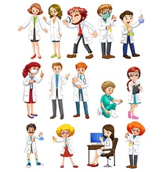 Male and female scientists in white gown vector image