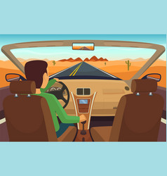 man driving car cabriolet inside vector image