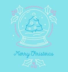 merry christmas greeting card with xmas symbol vector image
